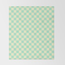 Cream Yellow and Magic Mint Green Checkerboard Throw Blanket