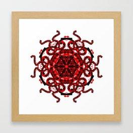 Red Abstract Mandala Star Framed Art Print