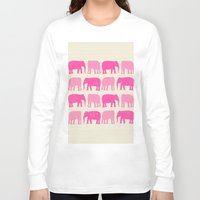 nursery Long Sleeve T-shirts featuring Pink Elephant Nursery Print by OldRedCanoe