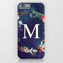 Personalized Monogram Initial Letter M Floral Wreath Artwork iPhone Case
