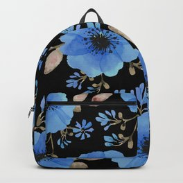 Blue flowers with black Backpack