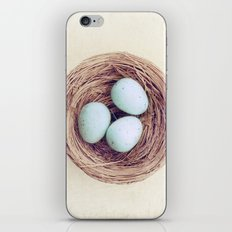 Birds Nest Photography, Robins Egg Nest, Spring Photography, Three Babies iPhone & iPod Skin