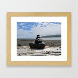 Finding Balance at the Beach Framed Art Print