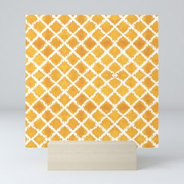 Yellow Turkish Morroccan Ikat Pattern Overall Design by Megan Duncanson Mini Art Print