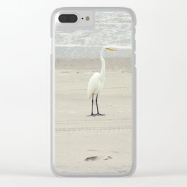 White Heron on Myrtle Beach Shore Clear iPhone Case