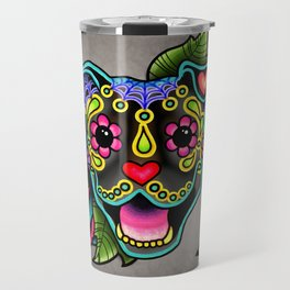 Smiling Pit Bull in Brindle - Day of the Dead Pitbull Sugar Skull Travel Mug