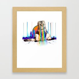 Psychedelic Vaporwave Catzilla with rainbow lasers from eyes print Framed Art Print