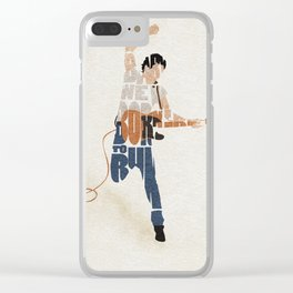 Typography Art of Boss of the Rock Bruce Frederick Springsteen Clear iPhone Case