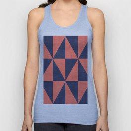 Geometric Triangle Pattern - Coral, Blue Unisex Tank Top