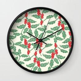 Coffee Plant Pattern Wall Clock