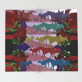 Dogs and Flowers Throw Blanket