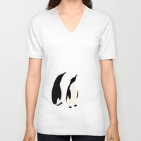 penguins V-neck T-shirts featuring Penguins by Rceeh