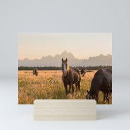 Horses Grazing Below the Tetons Mini Art Print