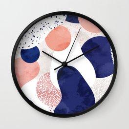 Terrazzo galaxy pink blue white Wall Clock