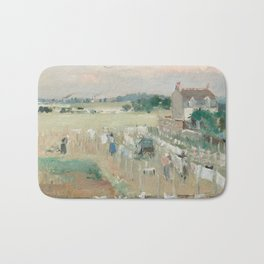 Hanging the Laundry out to Dry by Berthe Morisot Bath Mat