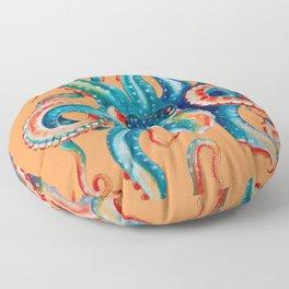 Octopus Teal Tentacles Orange Floor Pillow
