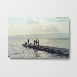 Lake dock in summer Metal Print