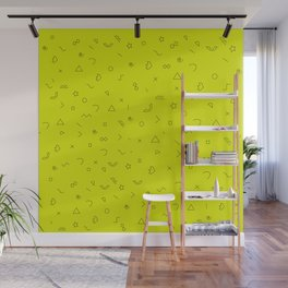 Digital Geometric Pattern Art Yellow Wall Mural