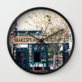 Cherry blossoms in Paris, Shakespeare & Co. Wall Clock