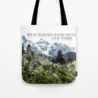tolkien Tote Bags featuring Alpine Wildflowers Tolkien Quote  by Elliott's Location Photography