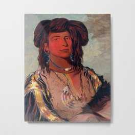 Head Chief of the Miniconjou Tribe by George Catlin Metal Print