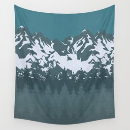 Trees and Mountains Wall Tapestry