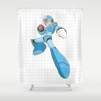 mega man Shower Curtains featuring Mega-Man by HypersVE