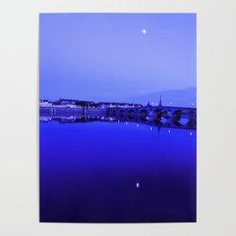 France landscape, Amboise, Loire valley, dusk, reflection, river, blue Poster