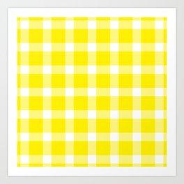 Plaid Canary Yellow Art Print