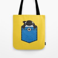 pocket Tote Bags featuring Pocket Whale by Steven Toang