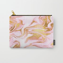 Rose Gold Marble Agate Geode Carry-All Pouch