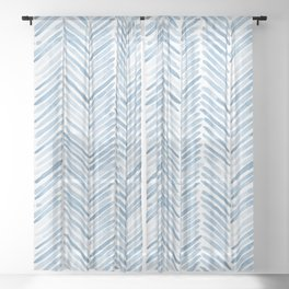 Baby blue watercolor herringbone  Sheer Curtain