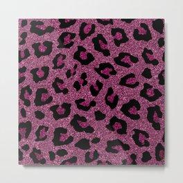 Pink Glitter Leopard Print Metal Print