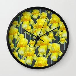 CHARCOAL GREY YELLOW IRIS GARDEN ABSTRACT Wall Clock