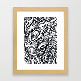 black and grey Framed Art Print