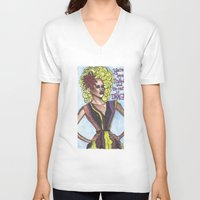 "rupaul V-neck T-shirts featuring RuPaul; ""You're Born Naked, And The Rest Is Drag!"" by DetRiotGirl"