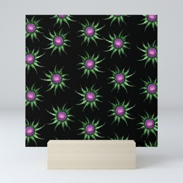 Pink Thistle Flowers On Black Pattern Mini Art Print