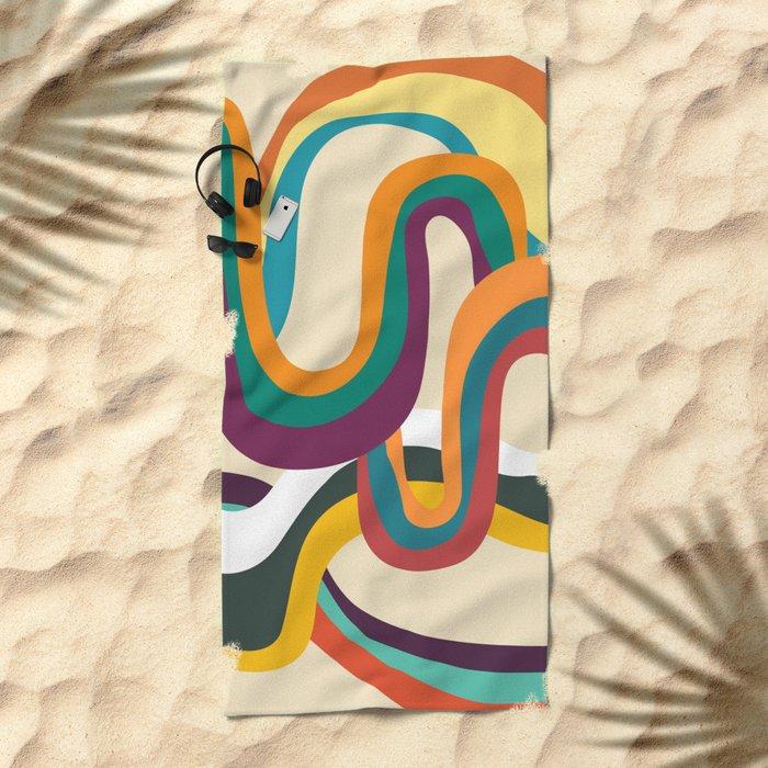 Groovy rainbow of doom Beach Towel