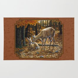 Whitetail Deer and Fawn in Autumn Rug