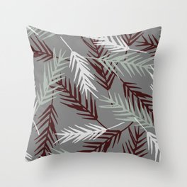 Green/White/ Burgundy Leaves Pattern Throw Pillow