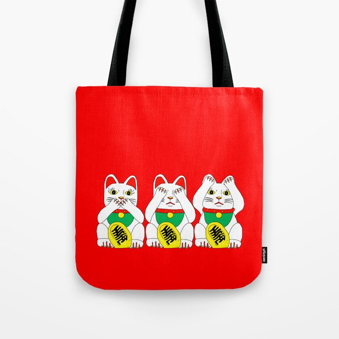 Three Wise Lucky Cats on Red Tote Bag