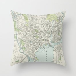 Vintage Map of New Haven Connecticut (1901) Throw Pillow