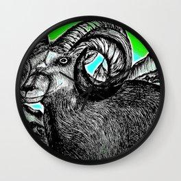 Rocky Mountain Ram - Enhanced Wall Clock