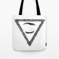 sleep Tote Bags featuring Sleep by Tom Kitchen