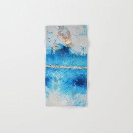 Rainy Day: a pretty minimal abstract mixed media piece in blue & gold by Alyssa Hamilton Art Hand & Bath Towel