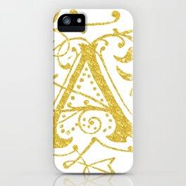 Gold Foil Letter A iPhone Case