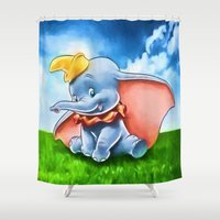 dumbo Shower Curtains featuring Dumbo by DisPrints
