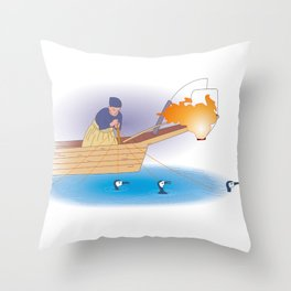 Japanese Cormorant fishing Throw Pillow
