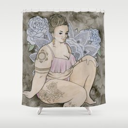 fat babe Shower Curtain