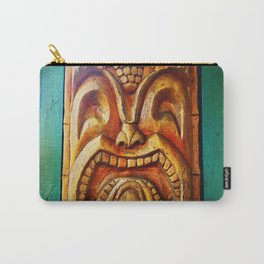 Crazy, fun, fierce, Hawaiian retro wood carving tiki face close-up Carry-All Pouch